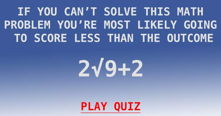 You only stand a chance if you can solve this equation